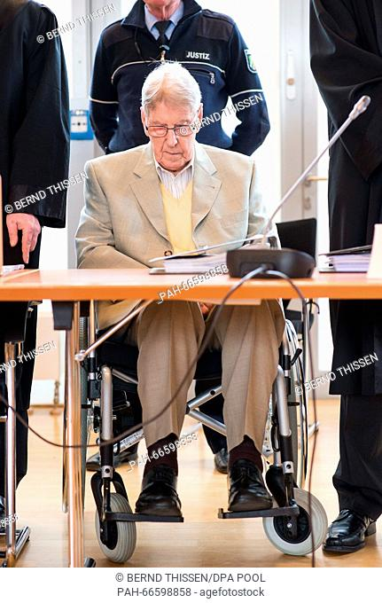 Defendant Reinhold Hanning attending the continuation of his trial in Detmold, Germany, 11 March 2016. Reinhold Hanning, a 94-year-old World War II SS guard is...