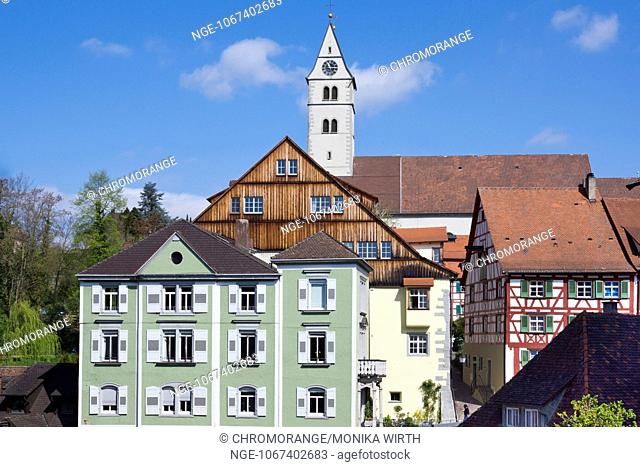 Old town of Meersburg with the parish church Mariae Heimsuchung, Lake Constance, Baden-Wuerttemberg, Germany, Europe