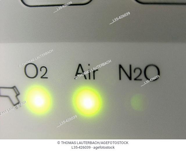Connection LED's for air, oxygen and nitrous oxid