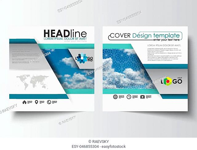 Business templates for square design brochure, magazine, flyer, booklet or annual report. Leaflet cover, abstract blue flat layout, easy editable blank