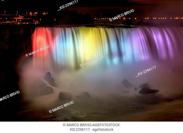 The illuminated Horseshoe canadian Niagara falls at night, Canada