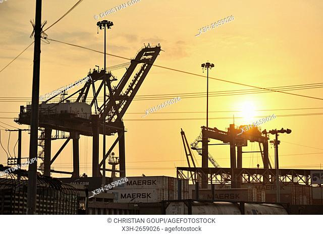 cranes in the port of Santa Marta, department of Magdalena, Caribbean Region, Colombia, South America