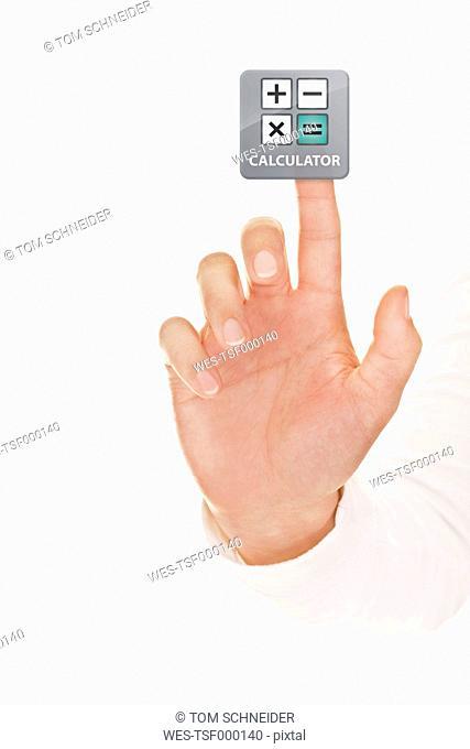 Human hand touching calculator icon