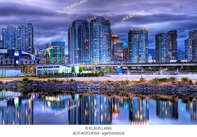 Downtown Vancouver from False Creek, Evening, Vancouver, British Columbia, Canada