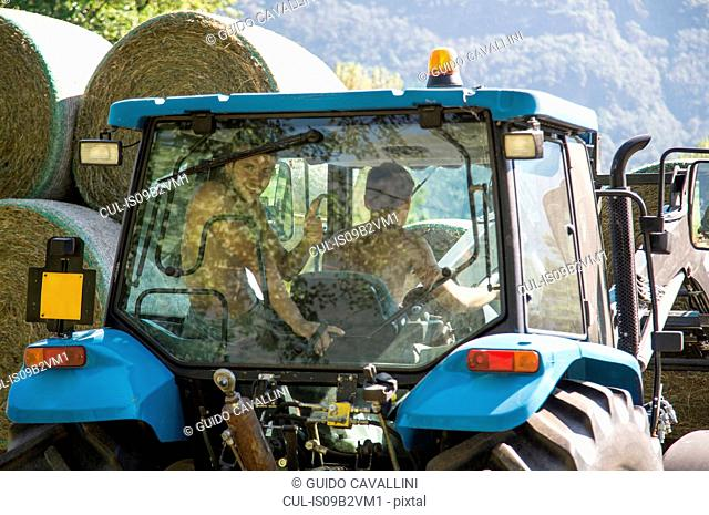 Harvesting tractor stacking circular haystacks
