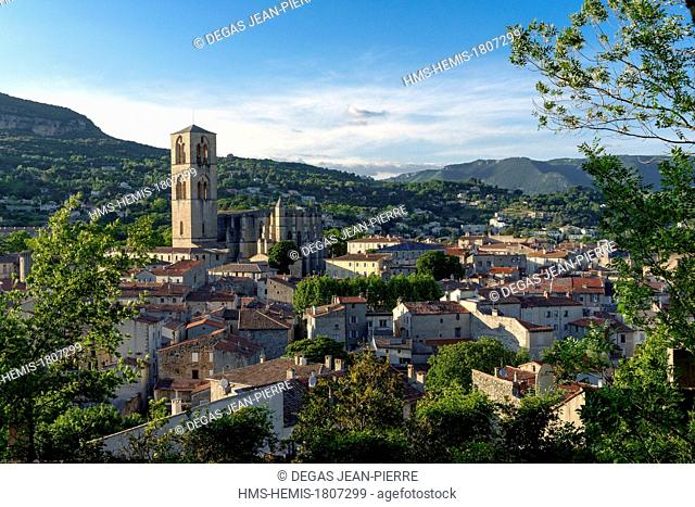 France, Herault , Lodeve, Cathedral Saint Fulcran of the 13th century of Southern Gothic style at sunset