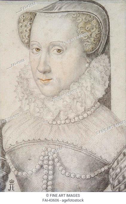 Portrait of Anna d'Este (1531-1607), Duchess of Nemours by Anonymous /Black chalk and sanguine on paper/Renaissance/1570-1580/France/State Hermitage, St