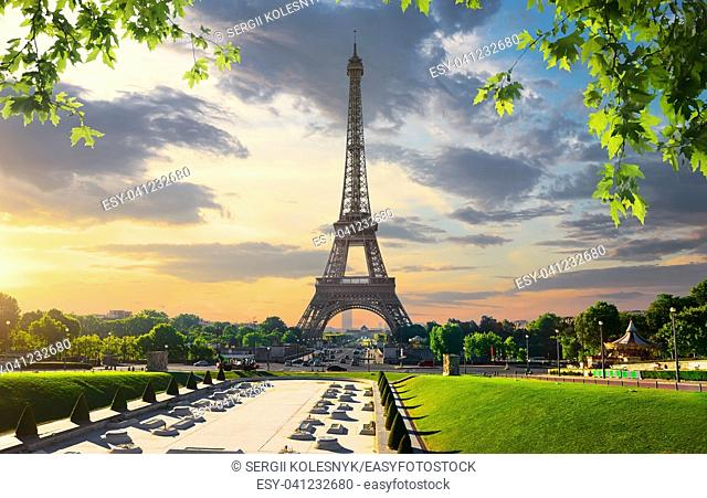 Paris with Eiffel Tower in evening time