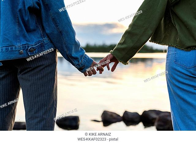 Finland, Lapland, close-up of two young women hand in hand at the lakeside at twilight