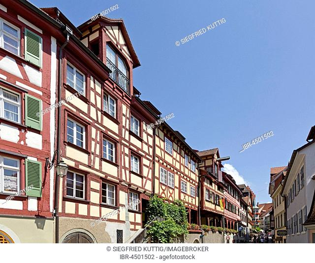 Half-timbered houses in the Oberstadt, Meersburg, Lake Constance, Baden-Württemberg, Germany