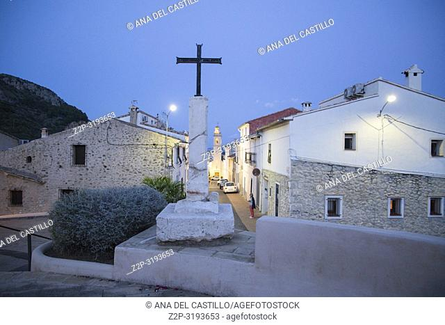 Cross at Adsubia village in Alicante province Spain