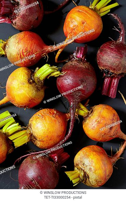 Overhead view of raw beets