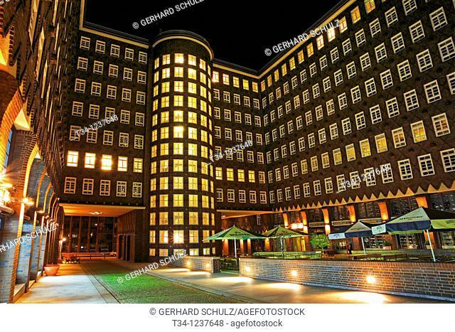 Speicherstadt Hamburg at night, Germany