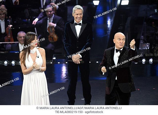 Virginia Raffaele, Claudio Baglioni, Claudio Bisio at the 69th Sanremo Music Festival, Sanremo, ITALY-07-02-2019