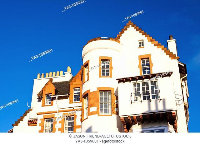 Scotland, Edinburgh, Edinburgh City  House with white washed walls, located near the castle esplanade