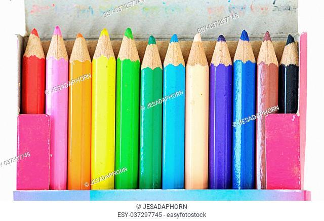 Color pencils in the box
