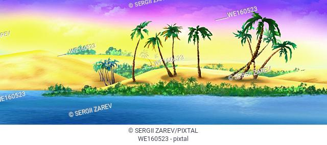 Palm Trees on a Sandy River Bank. Digital Painting Background, Illustration in cartoon style character