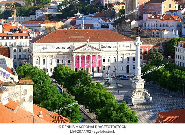 National Theater D Maria II at Rossio Square Lisbon Portugal