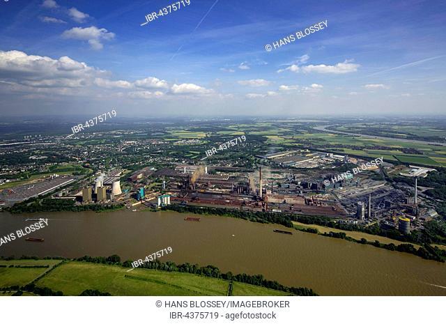 Aerial view, steelworks HKM the district Hüttenheim am Rhein with floods, Duisburg, Ruhr district, North Rhine-Westphalia, Germany