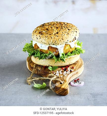 Healthy homemade vegan carrot and oats burger, wholegrain buns