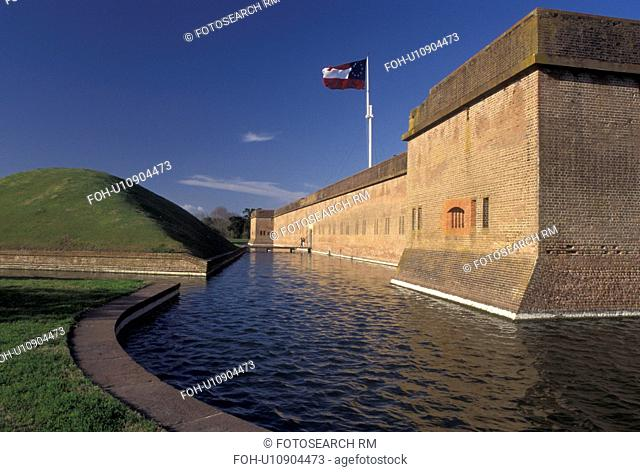 Fort Pulaski, fort, GA, Georgia, Savannah, Fort Pulaski National Monument, an irregular pentagon building surrounded by a moat, in Georgia