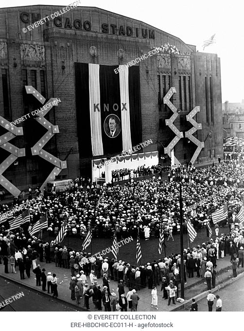 Chicago Stadium, during the notification ceremonies for Colonel Frank Knox, the Republican vice presidential candidate, Chicago, Illinois, July 30, 1936