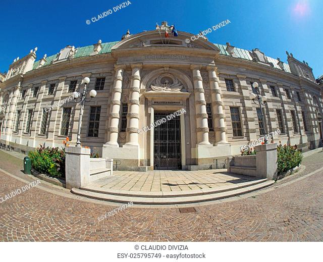 Biblioteca Nazionale meaning National Library seen with fisheye lens in Turin, Italy