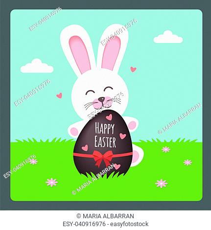 Happy Easter with bunny and chocolate egg on spring background