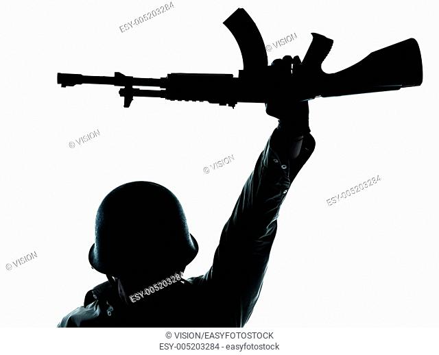 one caucasian revolutionary army soldier man holding ak47 kalachnikov on studio isolated on white background
