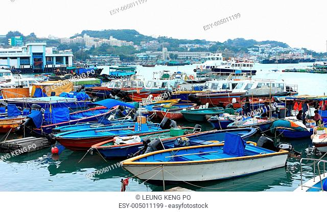 Fishing and house boats anchored in Cheung Chau harbour. Hong Ko