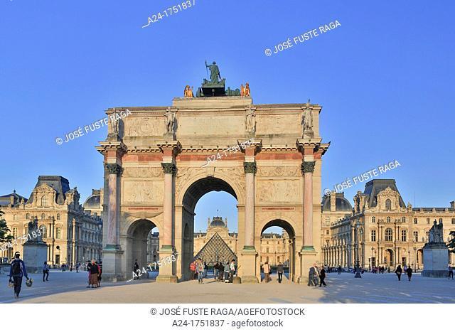 France , Paris City, Carrousel Arch du Triumph amd Louvre Museum