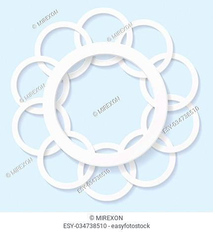 Abstract 3d circles on blue background