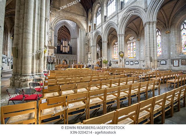 Rows of seats line the nave of Ripon Cathedral, Yorkshire, UK