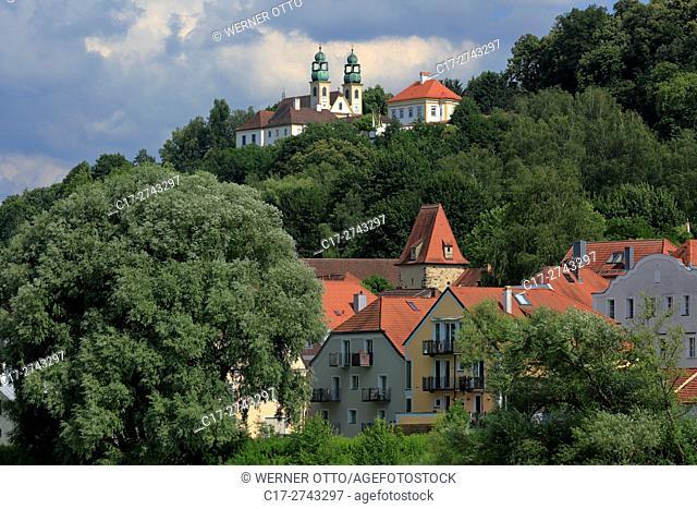 Germany, Bavaria, Eastern Bavaria, Lower Bavaria, Passau, Danube, Inn, Ilz, Passau-Innstadt, pilgrimage church and monastery Maria Hilf, baroque