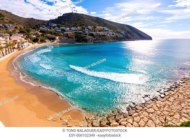Moraira playa el Portet beach high angle view in Mediterranean Alicante of Spain