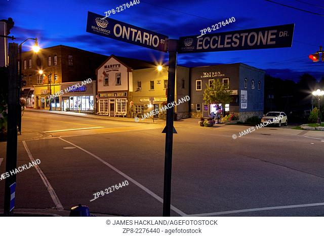 Ontario St. and Ecclestone Dr. street signs with downtown Bracebridge in the background. Ontario, Canada