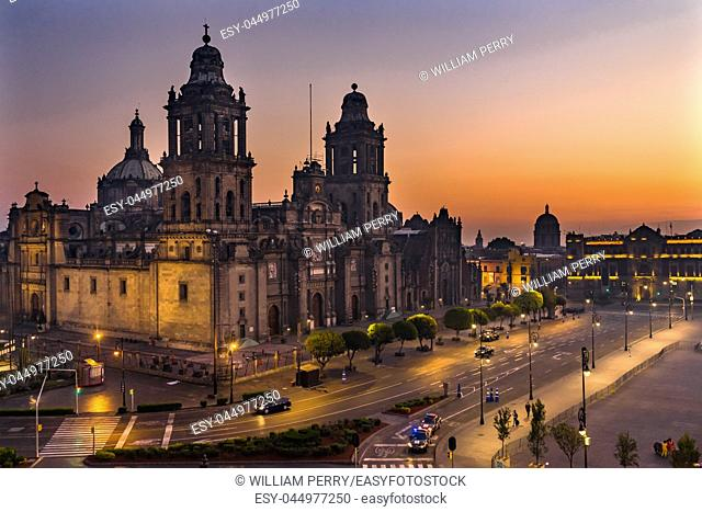 Metropolitan Cathedral Presidential National Palace Monument Sunrise Zocalo Mexico City Mexico. Palace built by Cortez in 1500s
