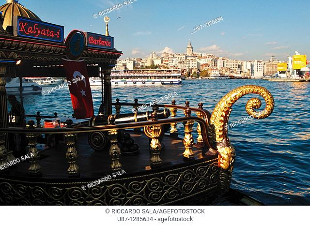 Turkey, Istanbul, Eminoenue, Golden Horn, Decorated Golden Boat Restaurant