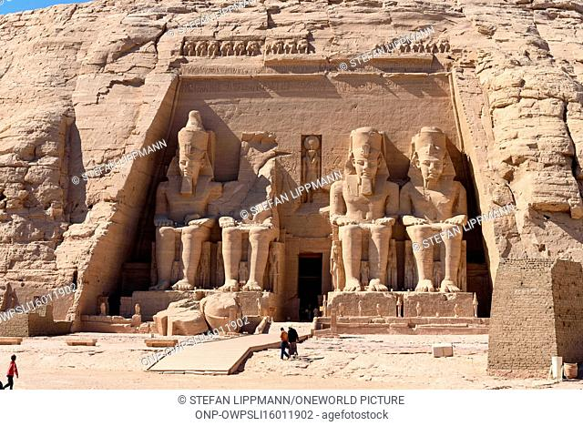 Egypt, Aswan Gouvernement, Abu Simbel, The temple is located on the border to Sudan in the far south of Egypt. Built by Ramses II