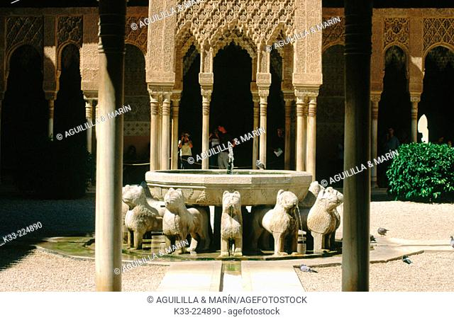Court of the Lions in the Alhambra. Granada. Spain