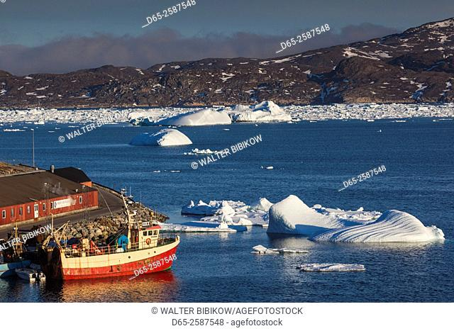 Greenland, Qaqortoq, elevated view of town and harbor