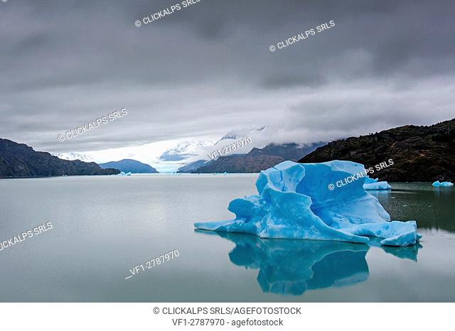 Grey Lake, Torres del Paine National Park, Patagonia, Chile, South America. Iceberg floating in the water of Grey Lake