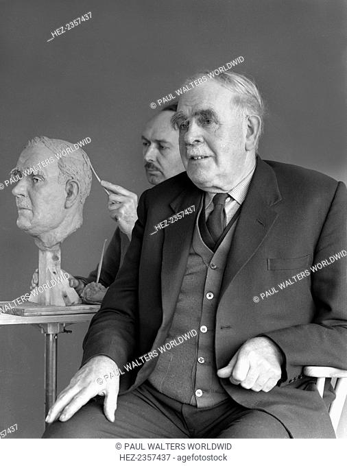 Alderman M Crichton posing for a sculpture, Swinton, South Yorkshire, April 1959. Mr Crichton was from a well known Swinton Family and he followed in his...