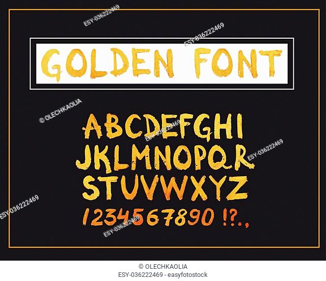 Golden Hand Drawn Font. Hand Written Metallic Modern Alphabet and Numbers. Vector Design Symbols