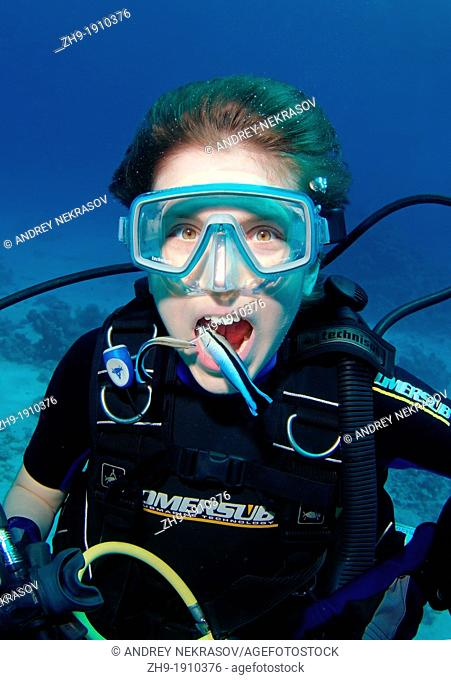 Young diver having mouth cleaned by cleanerfish, Sabre-toothed blenny Aspidontus taeniatus, Red Sea, Egypt, Africa