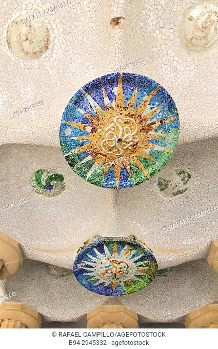 Sala Hipóstila. Park Güell. Garden complex with architectural elements situated on the hill of el Carmel. Designed by the Catalan architect Antoni Gaudí and...