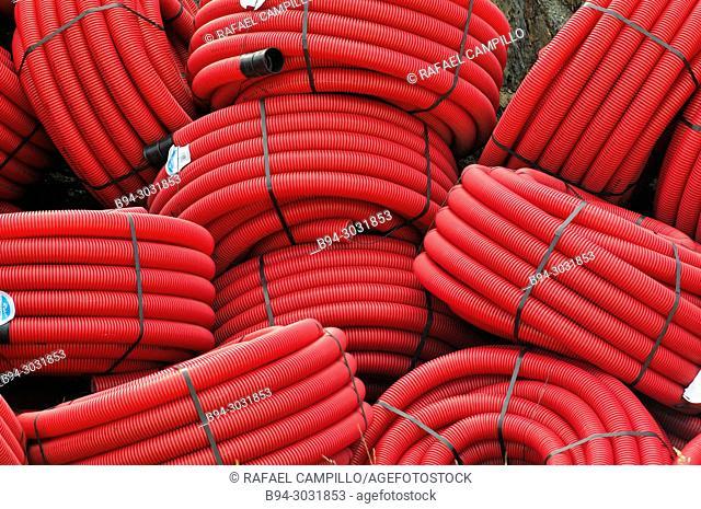 Red plastic tubes