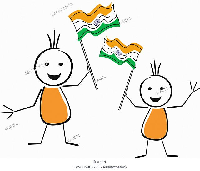 A card of republic day with two cute character holding the natio