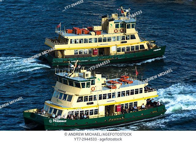 Two Sydney Ferries in the Harbour. Sydney, NSW, Australia