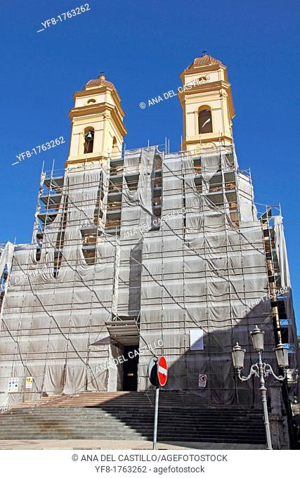 Chiesa di Santa Anna under reconstruction Santa Anna church old town Cagliari Sardinia Italy